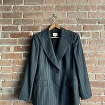 Giorgio Armani Collezioni Women's Jacket Sz 10 Italy 100% Wool Gray Pinstripe Photo