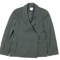 Giorgio Armani Collezioni Womens 14 Gray Work Blazer Jacket Front Buckle Italy Photo