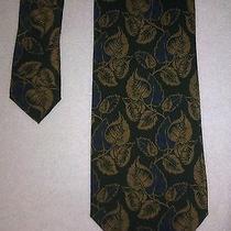 Giorgio Armani Cravatte Pure Silk  Neck Tie Green Floral Pattern Photo