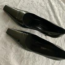 Giorgio Armani Dark Green Square Toe Leather Pumps Size 39 Photo