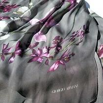 Giorgio Armani Gray Pink Purple Lilac Floral Print Silk Rectangular Scarf Photo