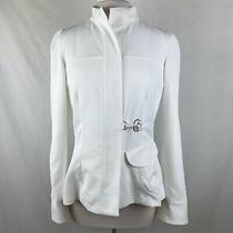 Giorgio Armani Italy Women's Size 44 White Zip Front Blazer Jacket Photo