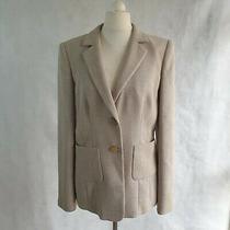 Giorgio Armani Jacket Womens Uk 14 Beige Woven Smart Button Collar Blazer 480621 Photo