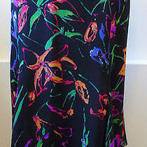 Giorgio Armani Le Collezioni Nwt Silk Black & Bright Color Print Skirt Sz 6 785 Photo