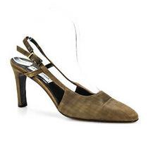 Giorgio Armani Le Collezioni Womens Plaid Slingbacks Brown Size 237.5 7.5 Ll19ll Photo