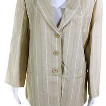 Giorgio Armani Le Collezioni Womens Silk Striped Blazer Yellow Gray Size 14 Photo