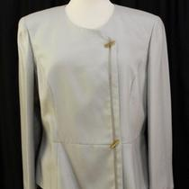 Giorgio Armani Light Blue Green Cashmere Silk Long Sleeve Jacket Blazer Sz 50 16 Photo