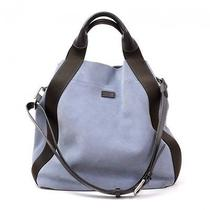 Giorgio Armani Light Blue Suede Leather Large Tote Hand Bag Oa078 Photo