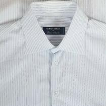 Giorgio Armani Men's Button Front Dress Shirt Sz 15.5-37 Blue & White Striped Photo