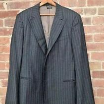 Giorgio Armani Mens Black Label Gray Pinstripe Blazer Jacket Sz Large Photo
