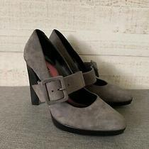Giorgio Armani Nwob Womens Pumps Heels Shoes Suede Leather Taupe Size 38 Us 8 Photo