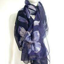 Giorgio Armani Purple Floral Print Rectangular Silk Scarf Photo