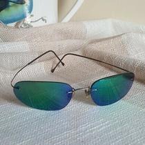 Giorgio Armani Rimless Eyeglasses Sunglasses 1551 Blue Green Irridescent Vtg Photo