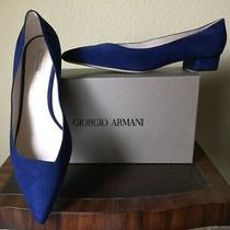 Giorgio Armani Shoes Size 11 - 12 (42 Eu) New Free Shipping Blue Suede Low Heel Photo