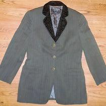 Giorgio Armani Vestimenta Spa Womens Blazer Gray Pinstripe Silk/wool Blend Sz 10 Photo