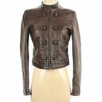 Giorgio Armani Women Brown Leather Jacket 38 Italian Photo