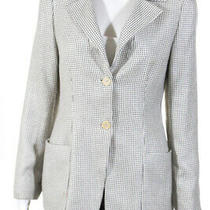 Giorgio Armani Womens Button Up Blazer Jacket Ivory Black Cashmere Size Eur 42 Photo