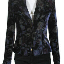 Giorgio Armani Womens Floral Velvet Collared Blazer Jacket Purple Size Eur 40 Photo