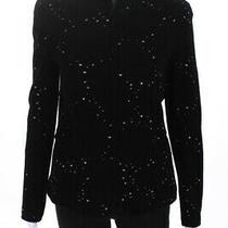 Giorgio Armani Womens Full Zip Crew Neck Spotted Sweater Black Size Italian 44 Photo