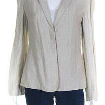 Giorgio Armani Womens Long Sleeve v Neck Three Button Blazer Beige Size 42 Photo