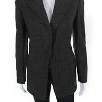 Giorgio Armani Womens Vintage Wool Checkered Print Blazer Black Size 6 Photo