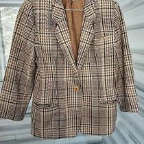 Giorgio Armani Womens Vintage Wool Plaid Blazer Size 8 42 Group Gft Brown Photo