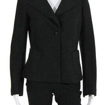 Giorgio Armani Womens Wool Long Sleeve Button Blazer Jacket Black Size 10 Photo