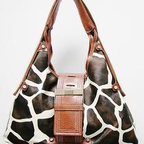 Giraffe Animal Print Design Hobo Style Handbag W/ Brown Trim Photo