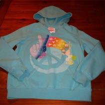 Girl 10/12 the Children's Place Aqua Hoodie W/ Peace Sign Photo