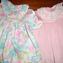 Girl 12 Mos. Two Pretty Spring Dresses Pink & Aqua Floral Photo