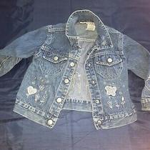 Girl Embroidered Butterfly Flower Denim Blue Jean Jacket Coat 3t  Photo