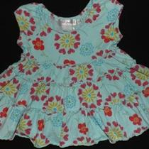 Girl  Fresh Produce Teal Floral Dress Size 6 Months Photo