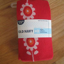 Girl Old Navy White Flowers Red Cotton Tights Nwt 4t 5t Photo