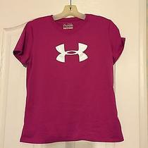 Girl's Athletic Apparel Under Armour Loose Heat Gear S/s Shirt Youth Sz Ylg Rose Photo