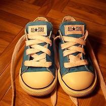 Girl's Blue Allstar Converse Low Tops Size 8 Photo