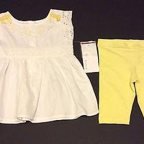 Girl's Camilla Outfit Sz 9 Mo Shirt Leggings White Yellow Lace Daisiesnwt Photo