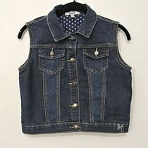 Girl's Dkny Denim Blue Jean Sleeveless Vest Size Xl Snaps Chest Front Pockets Photo