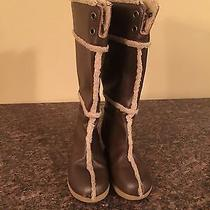 Girl's Gap Brown Leather & Shearling Tall Riding Wedge Boots Shoes Size 11  Photo