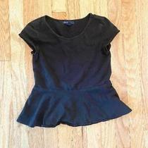 Girl's Gap Kids Medium Size 8 Black Peplum T-Shirt  Photo