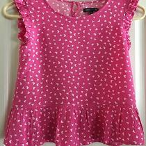 Girl's Gap Kids Pink Top W/white Hearts Viscose Ruffled Summer Top  Sz M (10) Photo