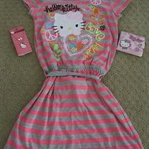 Girl's Hello Kitty Striped Dress Wallet Necklace & Earrings Set Lot Size 10/12 Photo