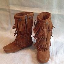Girl's Minnetonka Mocassin Fringe Boots Size 1 Photo