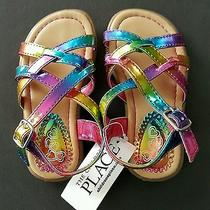 Girl's New Multi-Colored Rainbow Sandals by the Children's Place - Size Tod 6.   Photo