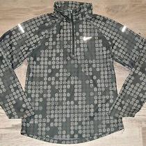 Girl's Nike Gray-White Jacquard Element Dri-Fit L/s 1/2 Zip Pullover Jacket S 8 Photo