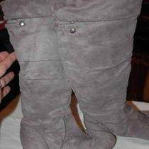 Girl's Shoes Rampage Boots Gray Soft Suede Like Size 5 1/2 M Good Condition Photo