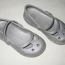 Girl's Silver Crocs-Size Children's 9 Photo