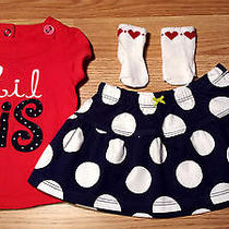 Girl's Size 3-6 M Months 2 Pc Red