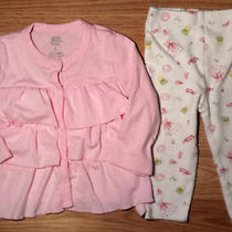 Girl's Size 6-9 M Months 2 Pc Pink Carter's Ruffled L/s Top Bloomie's Pants Photo
