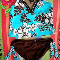 Girl's Size 8 Adorable Three Piece Tankini Set Brown & Aqua Super Cute  Photo