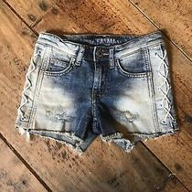 Girls Size 8 Destructed Denim Guess Lace Up Side Shorts Photo